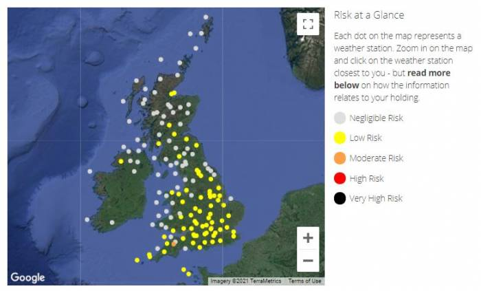 When available, the SCOPS Nematodirus Forecast appears as an interactive map.